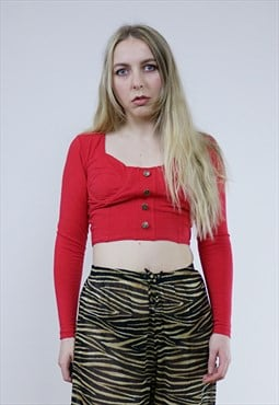 Vintage 90's Red Long Sleeve Button Crop Top