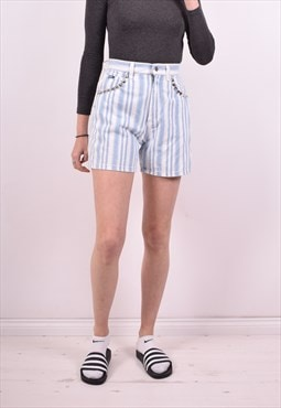 Lee Womens Vintage Denim Shorts W26 Blue Stripes 90s