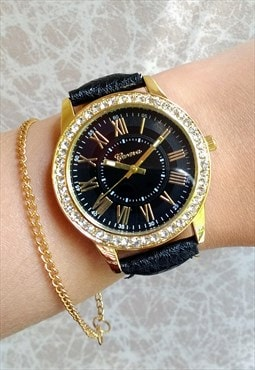 Jet Black Diamante Statement Watch