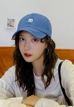 Embroidered letter M sun protection cap