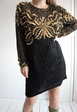 Vintage 80s Black & Gold Sequin Beaded Cocktail Midi Dress
