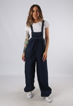 Vintage Denim Dungarees Wide Balloon Leg UK 10 (9E1N)