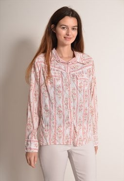 Vintage 90s Floral Snap Button Shirt in Pink