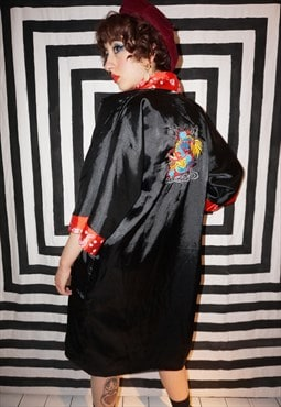Vintage 90s Reversible Black / Red Dragon Embroidery Kimono