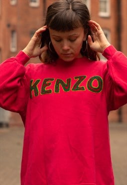 Vintage Kenzo spellout sweatshirt in a pink and green