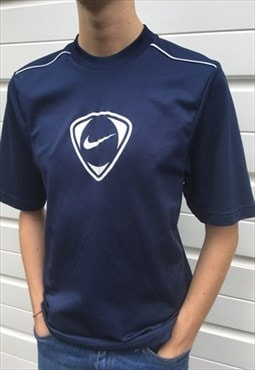 Mens Vintage Team nike top blue short sleeve jersey tshirt