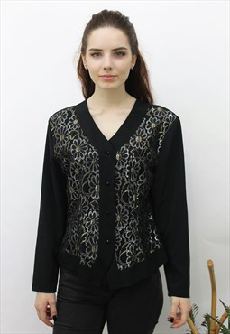 Vintage 1980s Black, Gold & Silver Lace Top