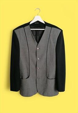 Vintage 90's Oversized Ribbed Sleeves Blazer Jacket