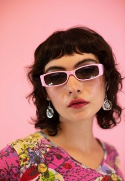 Rectangular Y2K Sunglasses in Baby Pink