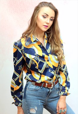 1970s vintage yellow and blue button up blouse