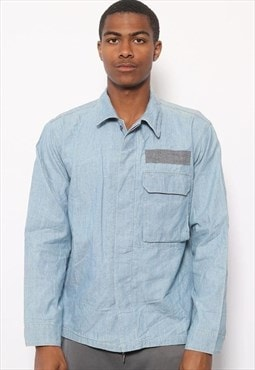 Vintage Stone Island Button Shirt Denim Blue