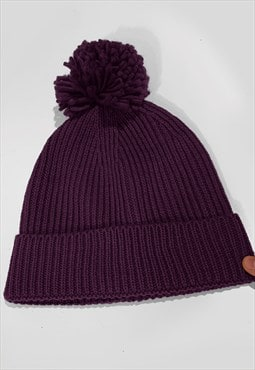 Ski Bobble Knitted Ribbed Beanie Hat - Maroon Red