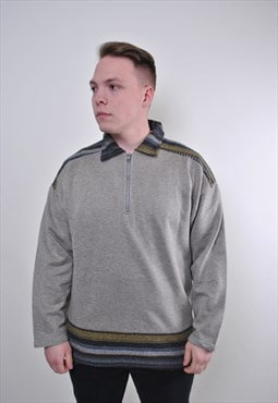 Abstract embroidery collared gray zipped up sweatshirt