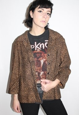 Leopard Print Cardigan Button Up