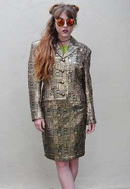 Vintage 1990's Gold Metallic Skirt Suit