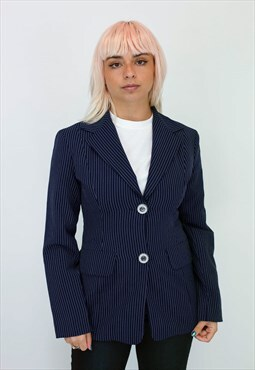 Vintage Y2K Pinstripe Blazer In Navy
