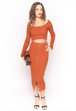 Soft Knit long sleeves Crop Top & Midi Skirt in Brown