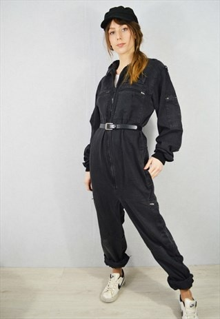Vintage Faded Cotton Workwear Jumpsuit Boilersuit