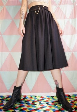 Vintage 80s Black Midi Skirt With Gold Chain