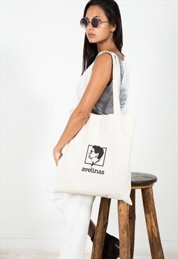 AVELINAS Printed Logo Cotton Tote Bag