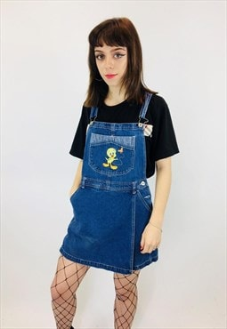 Vintage Looney Toons Embroidered Denim Dungarees