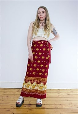 Vintage 90's Red & Gold Elephant Festival Wrap Skirt