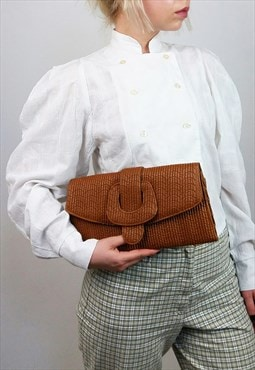 Vintage 80's Ribbed Faux Leather Clutch