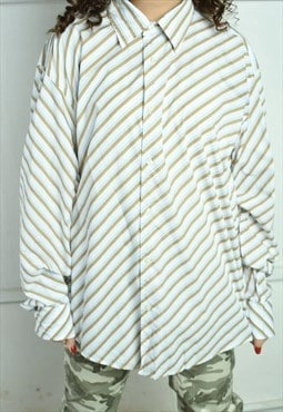 Vintage Y2K retro striped ESPRIT neutral oversized shirt top