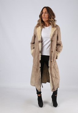Sheepskin Suede Leather Shearling Coat UK 10 Small (LJ3A)