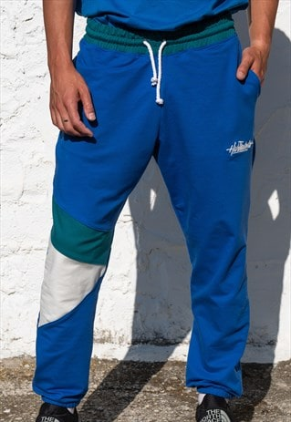 HANDMADE LIGHT JOGGERS PANTS IN BLUE WITH LETTERS EMBROIDERY