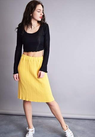 80'S RETRO YELLOW CLASSY MINIMALIST KNITTED MIDI MOM'S SKIRT
