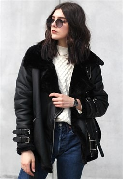Belted Faux Fur Aviator Jacket