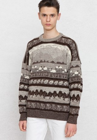 VINTAGE GREY BROWN CONCEPT ROUND NECK KNIT JUMPER
