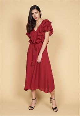 Athena Ruffle Neck Dress