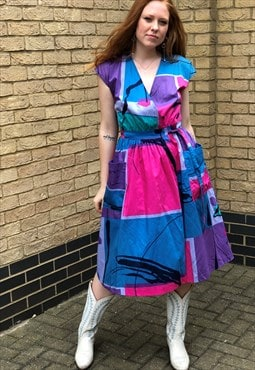 80s Vintage Pink / Blue Abstract Wrap Midi Dress w/ Pockets