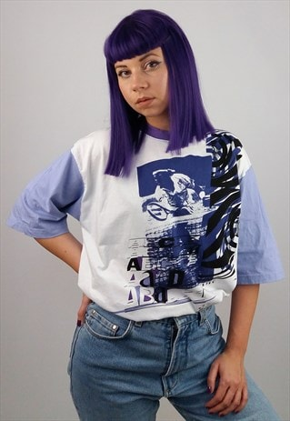 KILLTEC VINTAGE 80'S  RETRO PRINT UNISEX T-SHIRT PURPLE WHIT