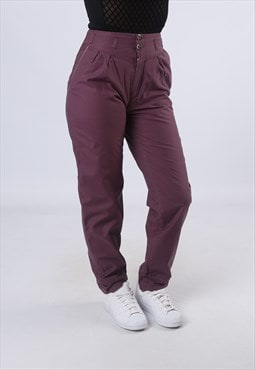 High Waisted Trousers Plain Wide Tapered UK XS (LK3N)