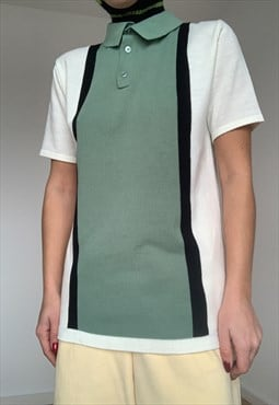 Vintage Color Block Unisex Polo Tee