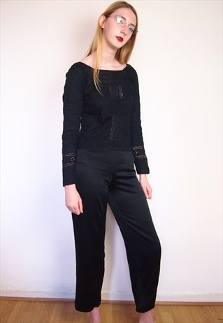 BLACK MINIMAL ANKLE TROUSERS