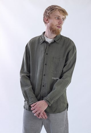 VINTAGE MENS STONE ISLAND MILITARY LINEN LONG SLEEVE SHIRT