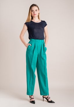 80s Green Wool Trousers
