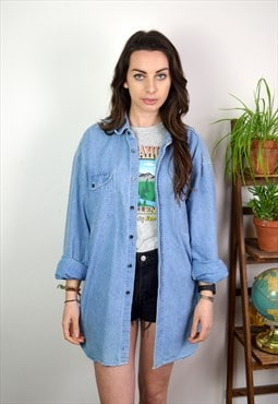 90s Vintage Minimal Light Blue Long Sleeve Denim Shirt