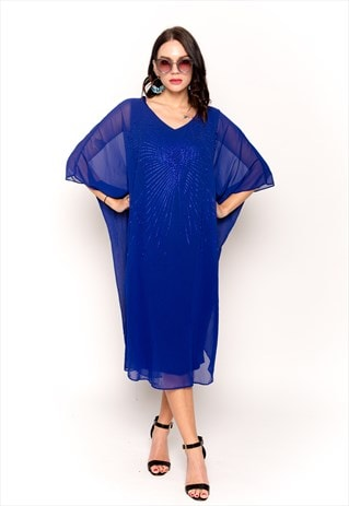 PEARL EMBELLISHED BUTTERFLY PATTERN OVERSIZED KAFTAN DRESS