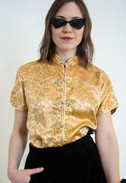 Vintage gold cheongsam blouse