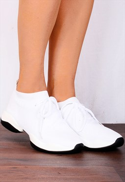 White Knitted Sock Style Chunky Sole Lace Ups Trainers