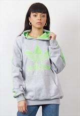 Vintage 90's Adidas neon green/grey hoodie