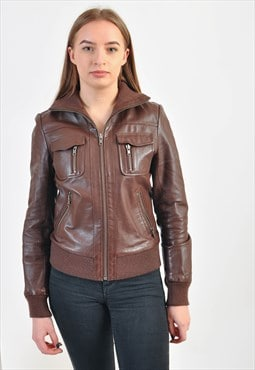 Vintage real leather jacket in brown