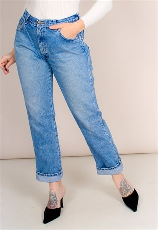 VINTAGE 90S HIGH WAISTED BLUE WRANGLER MOM JEANS