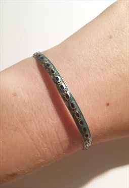 Womens Vintage bracelet blue turquoise 925 silver bangle