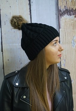 Stunning black chunky winter hat with faux fur balls